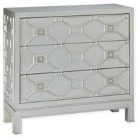 Madison Park Fleming 3-Drawer Chest with Metallic Silver Leaf Finish