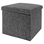 Seville Classics Foldable Storage Cube/Ottoman in Charcoal Grey