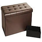 Seville Classics Foldable Faux Leather Storage Bench/Ottoman in Espresso