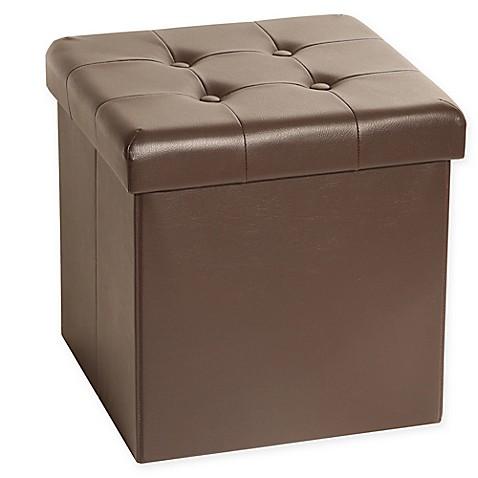 Seville Classics Foldable Faux Leather Storage Cube