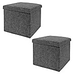 Seville Classics Foldable Storage Cubes/Ottomans in Charcoal Grey (Set of 2)