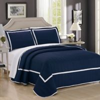 Chic Home Halrowe Reversible Twin Quilt Set in Navy