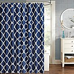 Madison Park Essentials Merritt Printed Fretwork 54-Inch x 78-Inch Shower Curtain in Navy