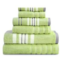 Pacific Coast Textiles Racer Stripe Bath Towels in Green (Set of 6)