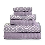 Pacific Coast Textiles Oxford Bath Towels in Purple (Set of 6)
