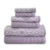 Pacific Coast Textiles Oxford Bath Towels in Purple (Set of 6)