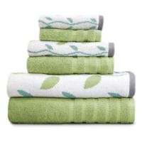 Pacific Coast Textiles 6-Piece Organic Vines Towel Set in Sage Green
