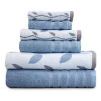 Pacific Coast Textiles 6-Piece Organic Vines Towel Set in Blue