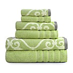Pacific Coast Textiles 6-Piece Lattice Rod Towel Set in Sage Green