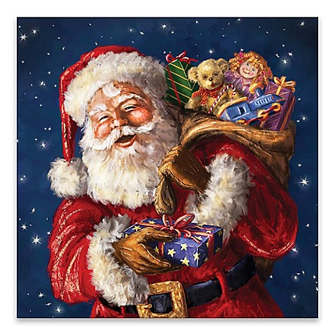 Jolly Ol' St. Nick 20-Inch Square LED Canvas Wall Art ...