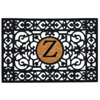 """Home & More Scroll Monogrammed """"Z"""" 24-Inch x 36-Inch Rubber Door Mat in Black/Natural"""