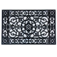 Home & More Utopia 17-Inch x 41-Inch Utopia Rubber Door Mat in Black