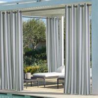 Coastal Stripe 96-Inch Indoor/Outdoor Window Curtain Panel in Dark Grey