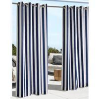 Coastal Stripe 96-Inch Indoor/Outdoor Window Curtain Panel in Navy