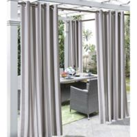 Coastal Stripe 96-Inch Indoor/Outdoor Window Curtain Panel in Taupe