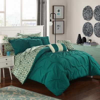 Elegant Chic Home Solice 10 Piece Queen Reversible Comforter Set In Dark Green