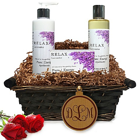 image of Pure Energy Apothecary Daily Delight Lavender Monogram Gift Basket