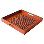 Global Decorative Tray in Orange/Black