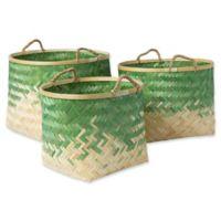 Forrestburg Olero Decorative Basket Set in Green/White