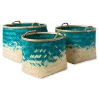 Forrestburg Olero Decorative Basket Set in Blue/White