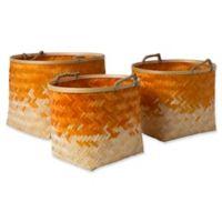 Forrestburg Olero Decorative Basket Set in Orange/White