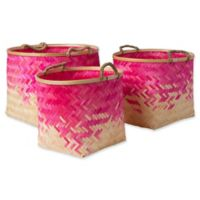 Forrestburg Olero Decorative Basket Set in Pink/White