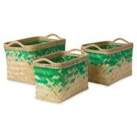Marshfield Gief Decorative Basket Set in Green/White
