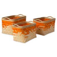Marshfield Gief Decorative Basket Set in Orange/White