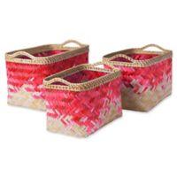 Marshfield Gief Decorative Basket Set in Pink/White