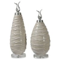 Uttermost Romeo Crackled Finials in Green (Set of 2)