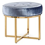 TOV Furniture Layla Velvet Ottoman in Shimmery Blue