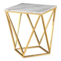TOV Furniture Leopold Marble Side Table in White/Gold