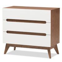 Baxton Studio Calypso 3-Drawer Storage Chest in Walnut/White