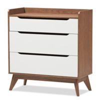 Baxton Studio Brighton 3-Drawer Storage Chest in Walnut/White