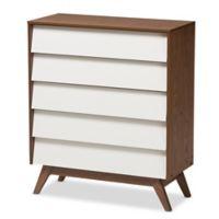 Baxton Studio Hildon 5-Drawer Storage Chest in Walnut/White