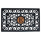 "Home & More Scroll Monogrammed ""E"" 18-Inch x 30-Inch Rubber Door Mat in Black/Natural"