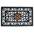 "Home & More Scroll Monogrammed ""S"" 18-Inch x 30-Inch Rubber Door Mat in Black/Natural"
