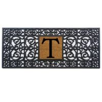 """Home & More Scroll Monogrammed """"T"""" 17-Inch x 41-Inch Rubber Door Mat in Black/Natural"""