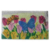 Nature by Geo Crafts Butterfly on Flowers 18-Inch x 30-Inch Doo Mat in Multi