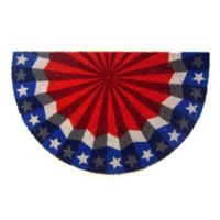 Nature by Geo Crafts Half-Round Americana Bunting 18-Inch x 30-Inch Multicolor Door Mat