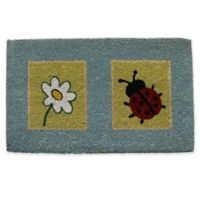 Nature by Geo Crafts Ladybug & Flower 18-Inch x 30-Inch Multicolor Door Mat