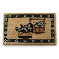 Nature by Geo Crafts Floral Border Baskets 18-Inch x 30-Inch Multicolor Door Mat