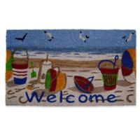 Nature by Geo Crafts Beach Welcome 18-Inch x 30-Inch Multicolor Door Mat