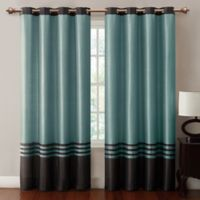 VCNY Home Barclay Faux Silk 84-Inch Grommet Top Window Curtain Panel in Chocolate/Blue