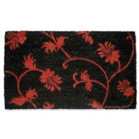Nature by Geo Crafts Red Floral 18-Inch x 30-Inch Door Mat