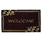 Nature by Geo Crafts Welcome on Black Background 18-Inch x 30-Inch Door Mat