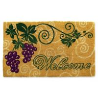 Nature by Geo Crafts Grapes Welcome 18-Inch x 30-Inch Multicolor Door Mat