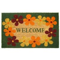 Nature by Geo Crafts Floral Welcome 18-Inch x 30-Inch Multicolor Door Mat