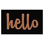 Home & More Hello Script 17-Inch x 29-Inch Door Mat in Black/Natural