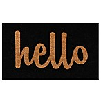 Home & More Hello Script 24-Inch x 36-Inch Door Mat in Black/Natural